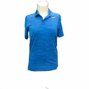 Nike Blue Camo Dri Fit UNISEX Golf Polo Sz Med